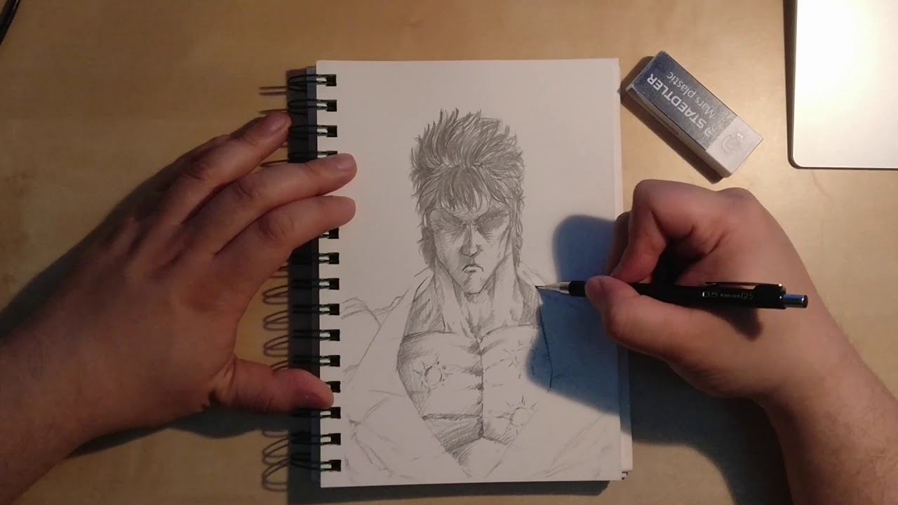 Kenshiro from fist of the north star time lapse pencil drawing