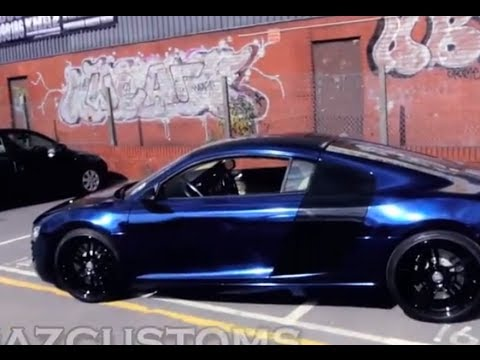BEHIND THE SCENES OF AUDI R8 BLUE CHROME WRAP BY KHAZCUSTOMS - YouTube