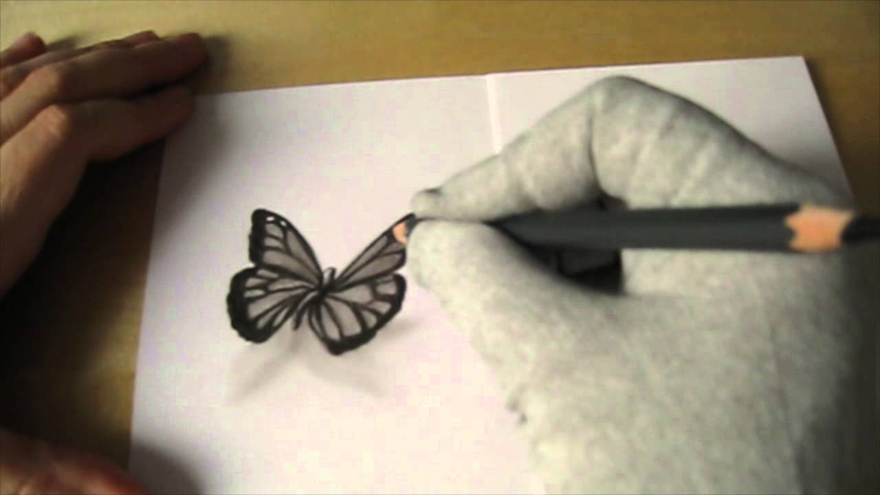 Disegnare una farfalla monarca a carboncino for Disegno 3d free