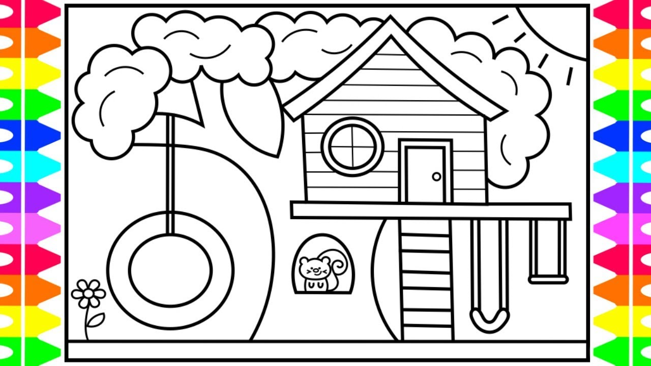 Step by step video tutorial for kids. How to Draw a Treehouse for Kids 💙💚💜 Treehouse Drawing ...
