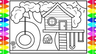 How to Draw a Treehouse for Kids 💙💚💜 Treehouse Drawing  | Treehouse Coloring Pages for Kids