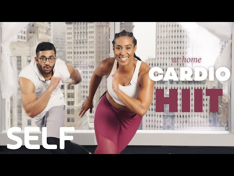 30 Minute HIIT Cardio Workout + Abs At Home With Warmup | SELF