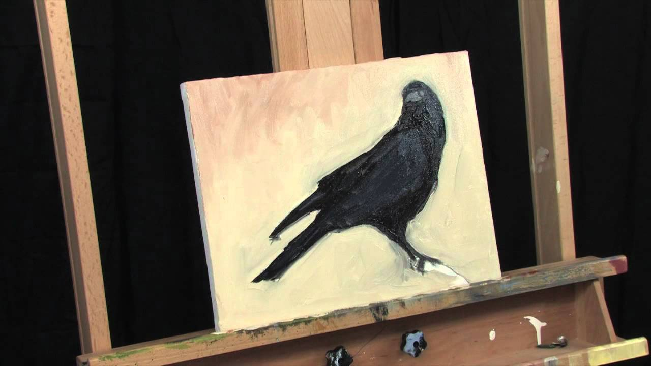 Time Lapse Crow Raven Painting Expressionist Acrylic Thick