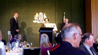 Australia Post presenting the Royal Wedding stamps to the Governor of NSW
