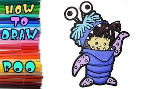 How to draw Boo from Monsters,Inc - learn to draw - drawing lessons - coloring pages
