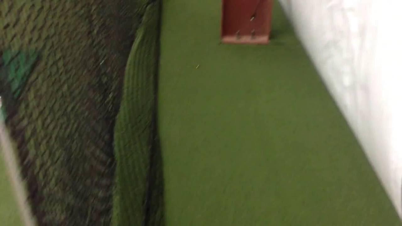 baseball netting batting cage indoor installed 12 x 14 x 45 ft