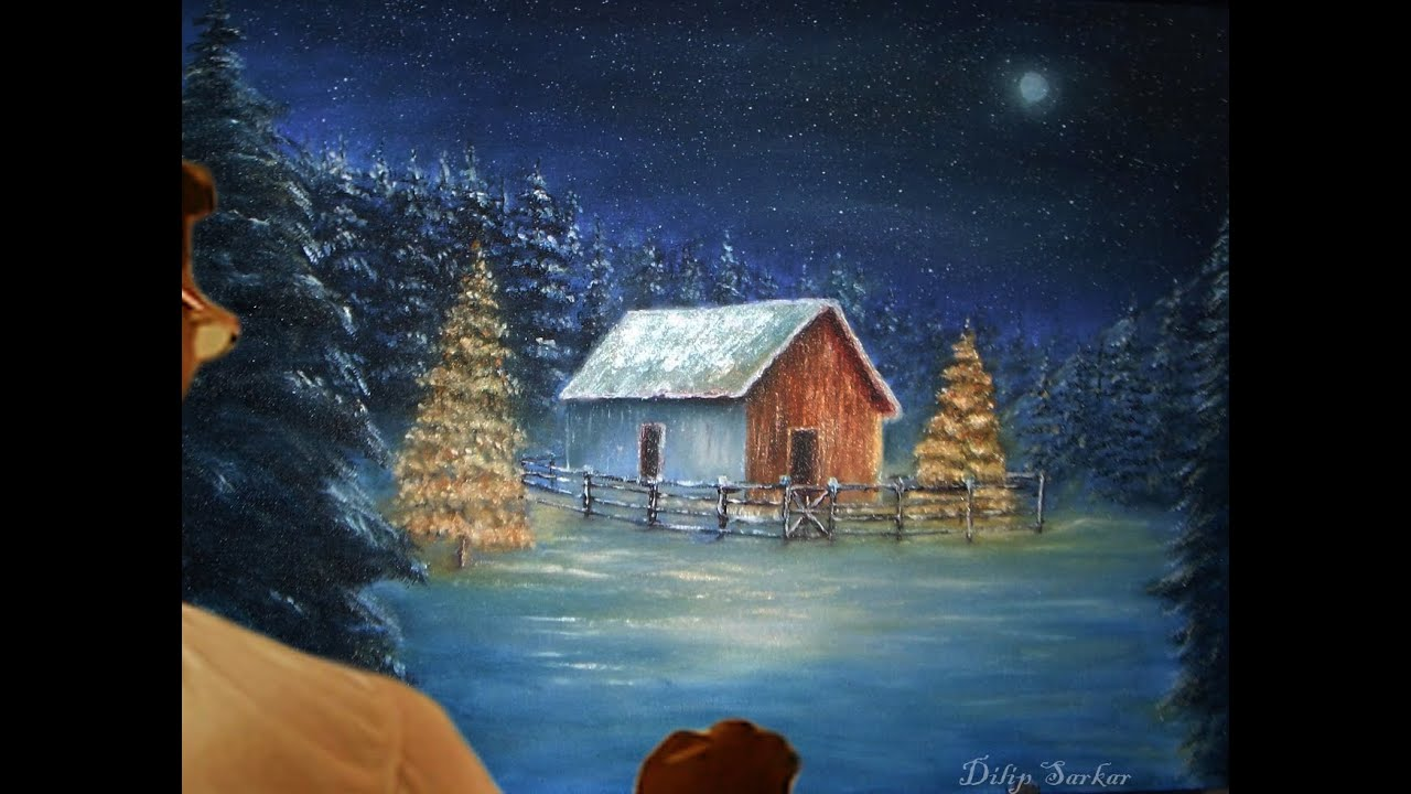 how to draw oil painting, Christmas tree - Paint With ...
