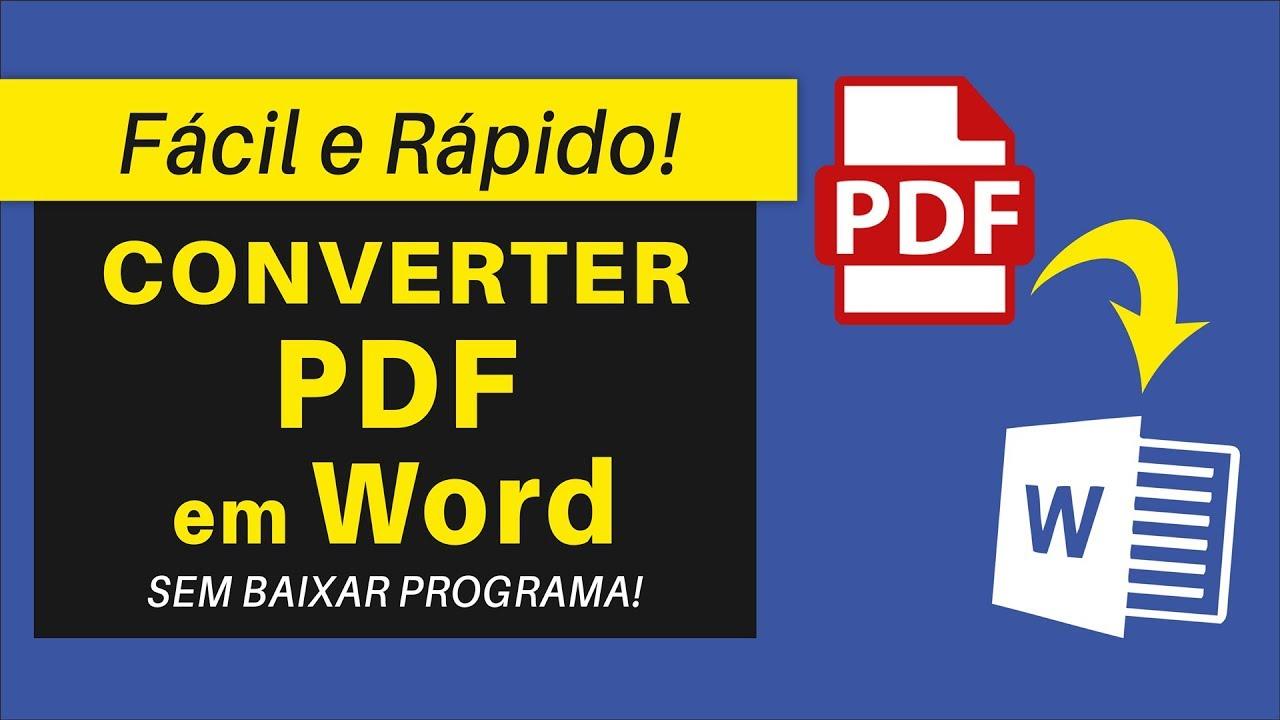 Como Converter PDF em Word | Grátis e Rápido! - YouTube