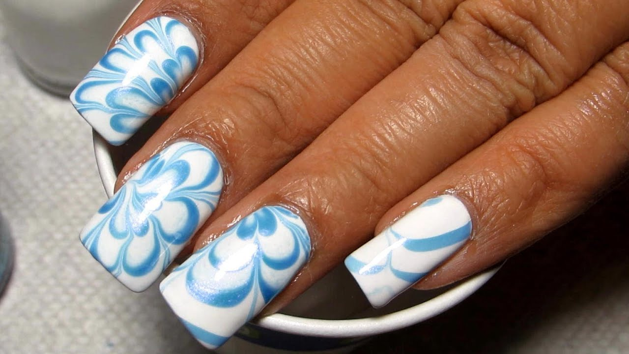 Blue white water marble nail art tutorial youtube prinsesfo Choice Image