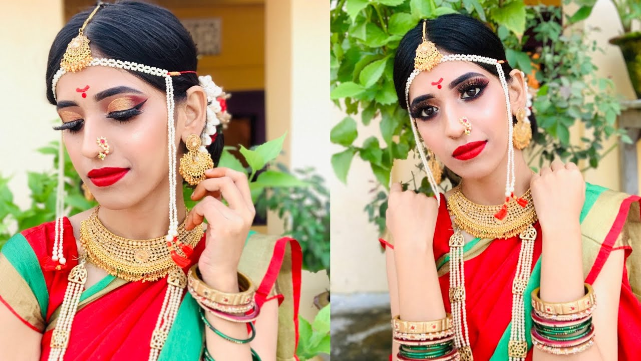 Maharashtrian Traditional Bridal Makeup tutorial|Bridal series|shrutimakeover