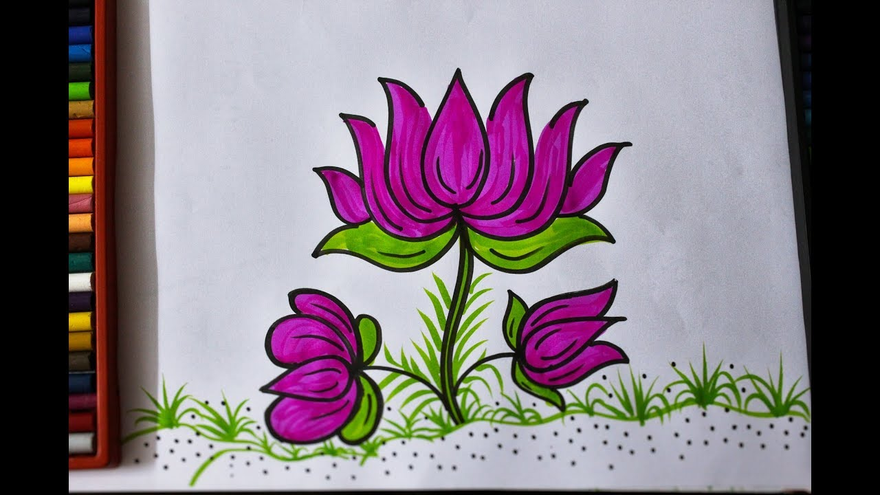 How To Draw A Beautiful Lotus Flower In Easy Steps For Kids And
