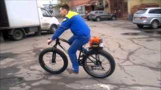 Мотовелосипед Фет байк ВелоКомета(Подвесной веломотор Комета установлен на велосипед с толстыми шинами Фет-байк., 2016-04-30T06:48:25.000Z)