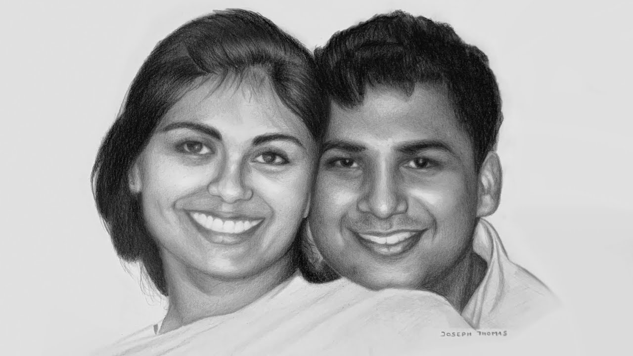 Drawing a Lovely Couple - Pencil Drawing Time-lapse