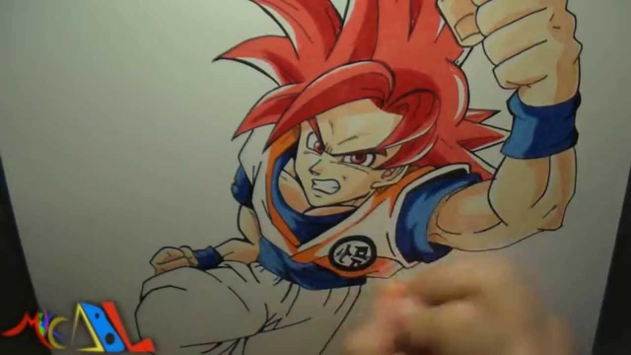Dibujando a Goku SSJ Dios  YouTube