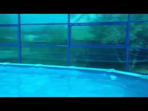 навес из поликарбоната для бассейна на даче видео