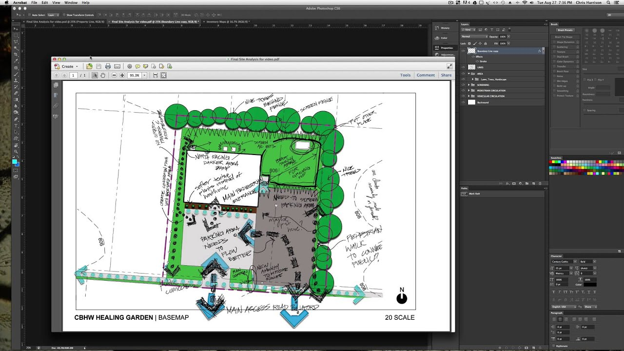 Site analysis diagram with photoshop and handsketching for How to plan a website