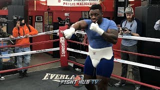 IS BIG BABY MILLER BULKING UP FOR ANTHONY JOSHUA? MILLER SHOWS NEW SIZE SHADOW BOXING!