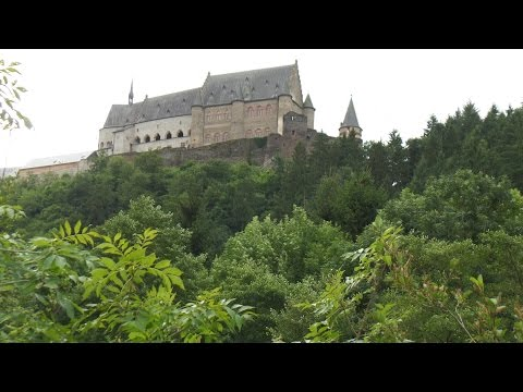 Vianden with its castle and power station-Luxembourg