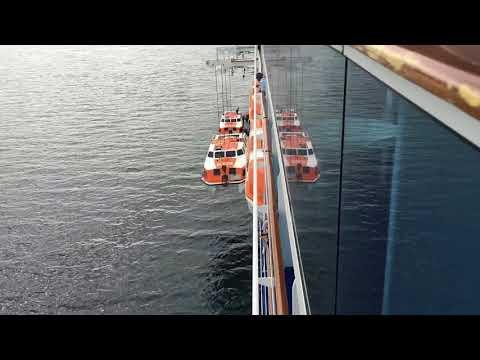 Island Princess retrieves tenders at Puerto Montt, Los Lagos, Chile