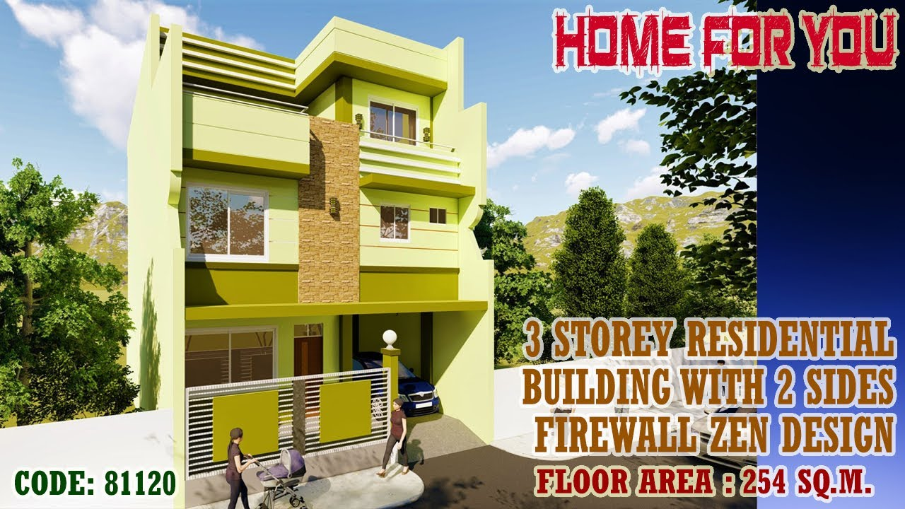 Download 3 STOREY RESIDENTIAL BUILDING WITH 2 SIDES FIREWALL ZEN DESIGN (CODE 81120) SHELTER FOR YOU