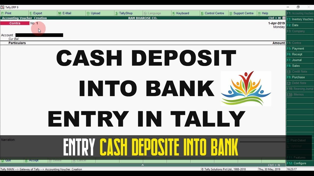 Cash Deposit Into Bank | Tally ERP 9 | Easy Tutorial Part - 10 | ICS  Institute
