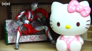 Ultraman sleeping on the phone waking up Kitty loves you BANDAI & Sanrio