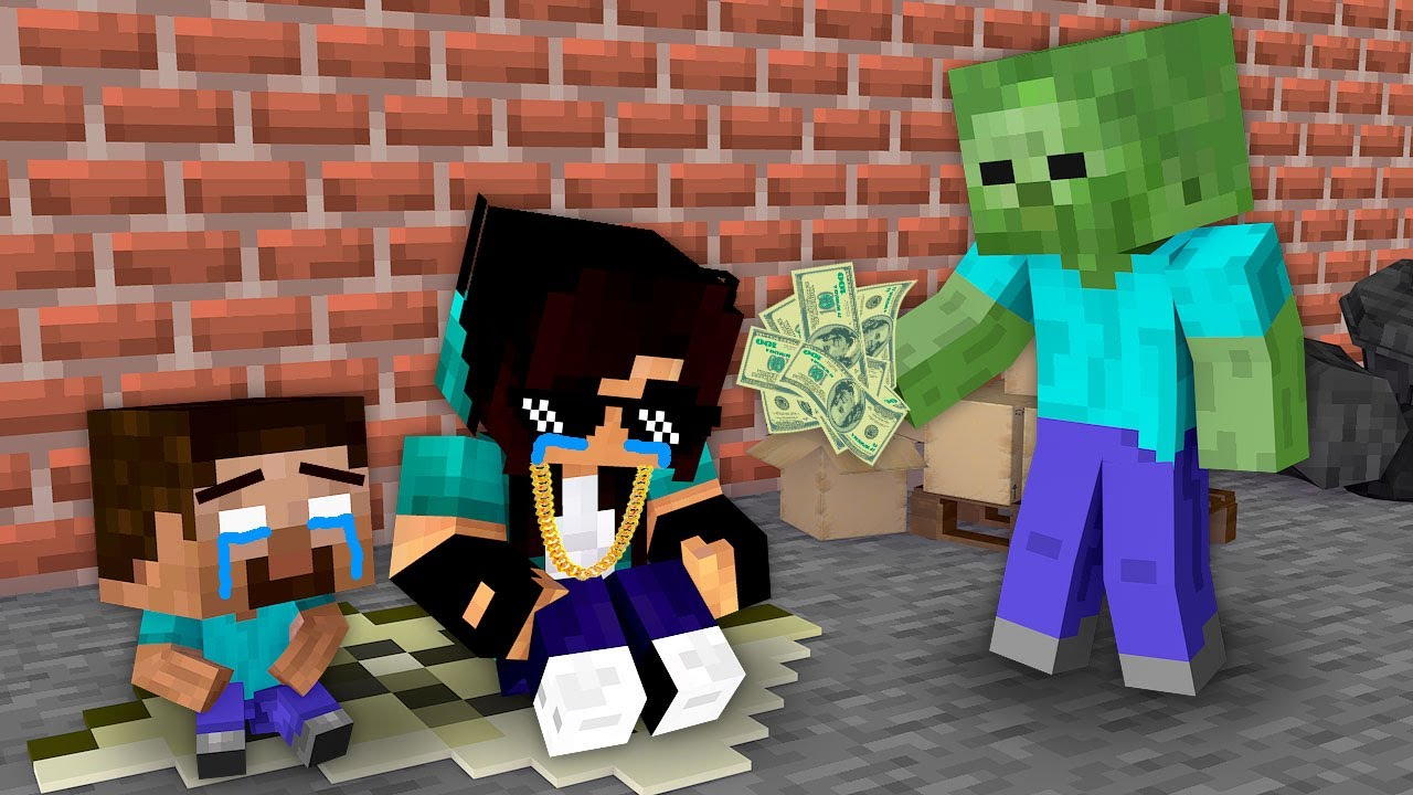 Monster School : Poor Homeless Herobrine Family - Minecraft Animation