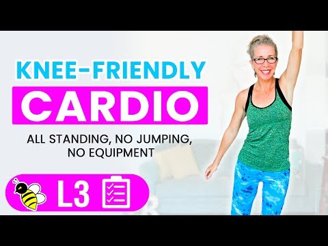 35 Minute KNEE FRIENDLY Cardio Workout + KNEE Strengthening Exercises