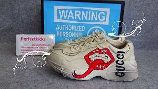 a25c497d52f Gucci rhyton sneaker with mouth print on feet hd review video