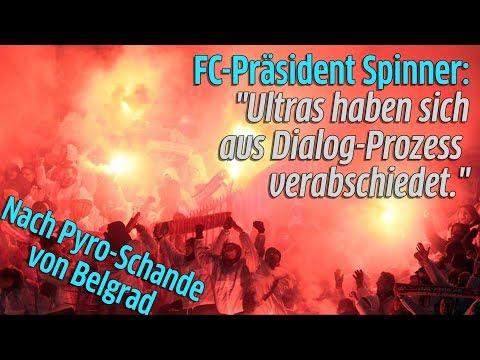 1. FC Köln - Präsident Werner Spinner zu Ultras nach Pyros in Belgrad