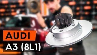 Kā nomainīt aizmugurējie bremžu diski AUDI A3 1 (8L1) [PAMĀCĪBA AUTODOC]