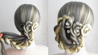 Flower Bun Hairstyle With Braids Wedding Updo Long Hair Bridal Hairstyle New Hairstyle Trend