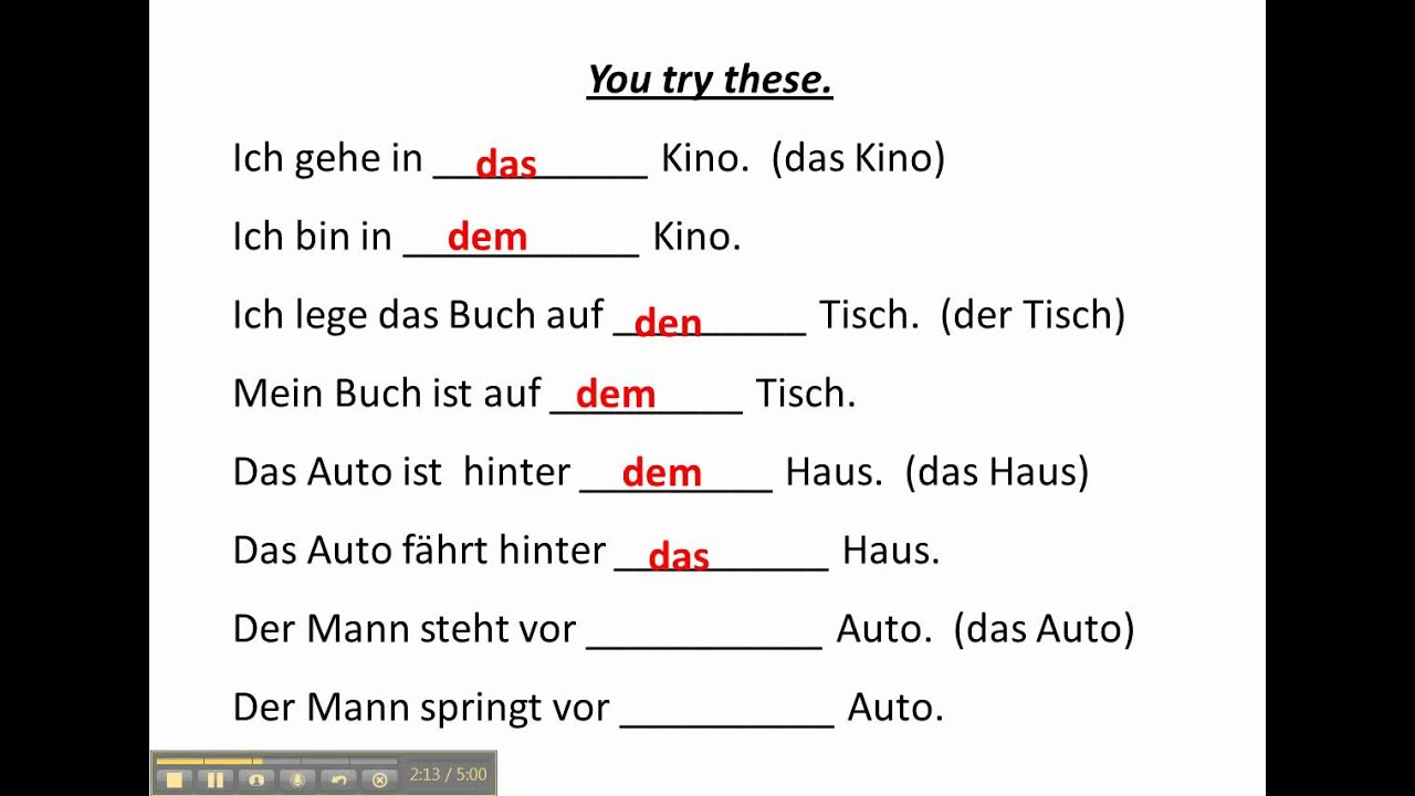 worksheet German Cases Worksheet work with accusative and dative prepositions in german www germanforspalding org youtube