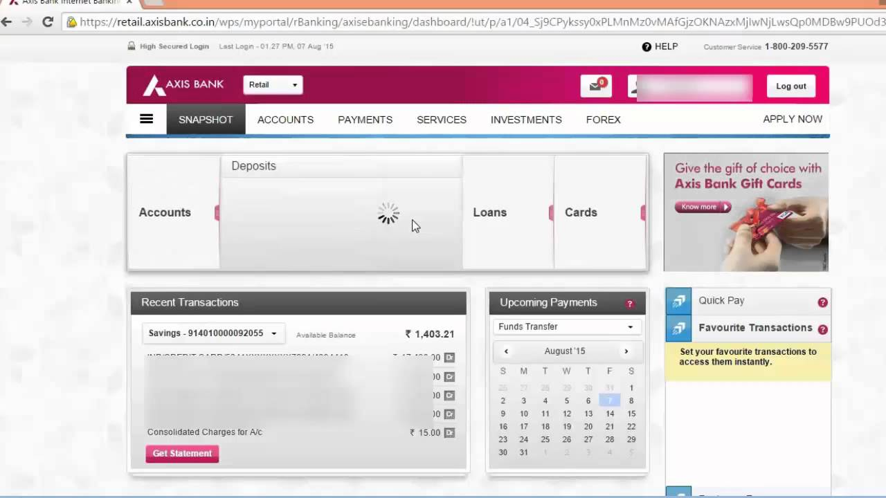Axis Bank-New One Page Net Banking Explained