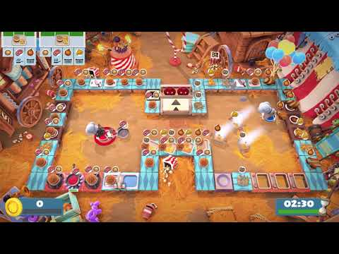 Overcooked 2. Carnival of Chaos 1-1   2 players online coop 4 stars   Score: 2608  