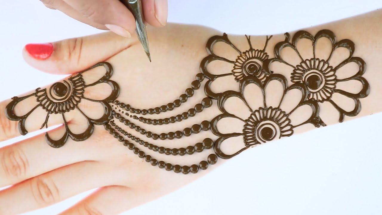 Very easy trick mehndi design - Latest Mehendi design for back hands - Simple henna/Mehandi design