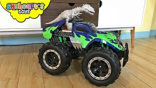 INDOMINUS REX riding a Monster Truck! Skyheart sleeps dinosaur fight battle jurassic world trex
