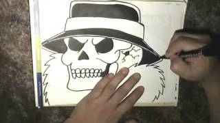 Drawing a Cholo Skull----And Some Oldies Songs-(Instrumental Oldies)