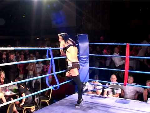 Drunk Ring Girl in Stockings & Suspenders Dragged from Ring by Security!