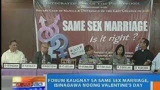 NTG: Forum kaugnay sa same sex marriage, isinagawa noong Valentine's Day