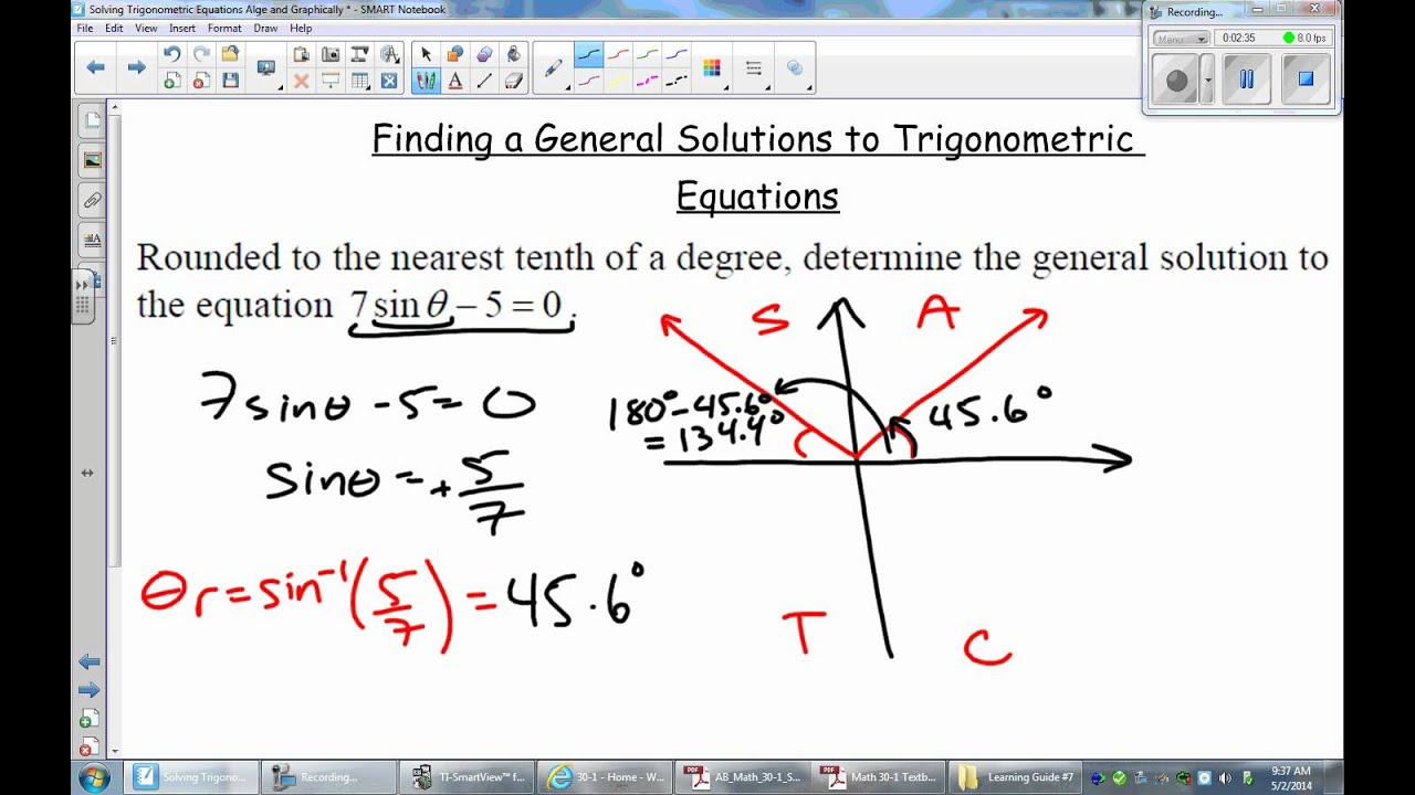 Lg07 Lesson 2b Stating General Solutions Of Trig Equations Without Unit Circle