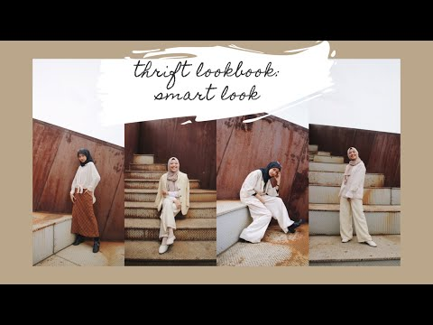Thrift Lookbook: 7 vintage smart look for hijab, all item for under 150k // hijab outfit lookbook - YouTube