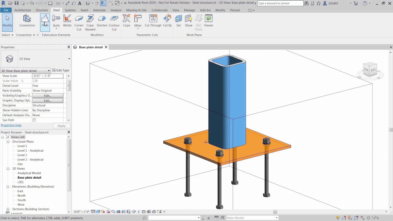 Select This Element And Try Again To Create The Parametric Diagram Whats New In Revit 2019 Custom Steel Connections Youtube