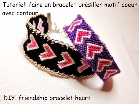 Tutoriel bracelet brésilien motif coeur plein avec bordure (DIY friendship  bracelet with heart)
