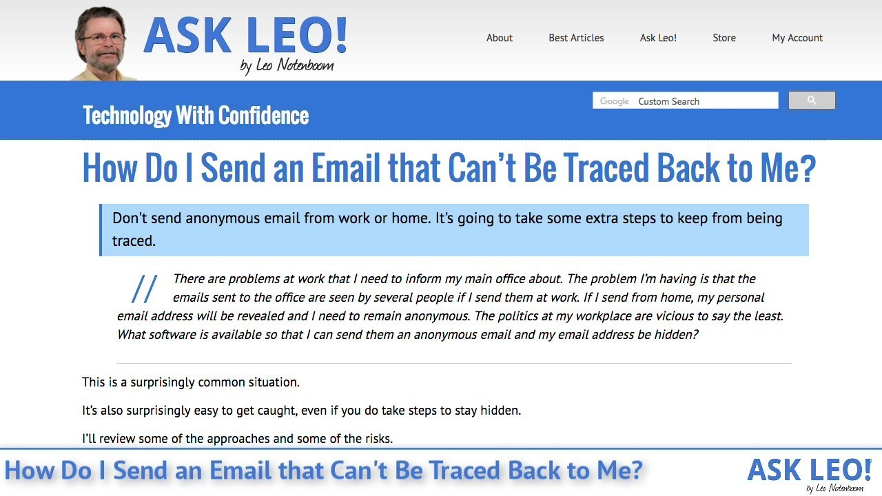 How Do I Send an Email that Can't Be Traced Back to Me? - Ask Leo!