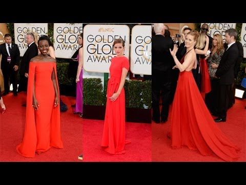 Stars Blend Into The Red Carpet At The Golden Globes