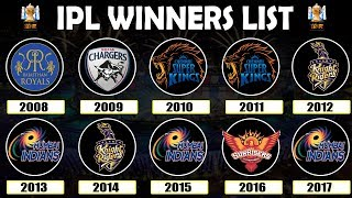 VIVO IPL 2018 | Winners List | Year Wise | 2008 - 2017 | All Seasons | Final Matches