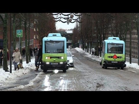 Inauguration of the first self driven bus line in Stockholm