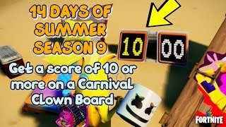 Fortnite - Get a score of 10 or more on a Carnival Clown Board - 14 days of Summer Challenges