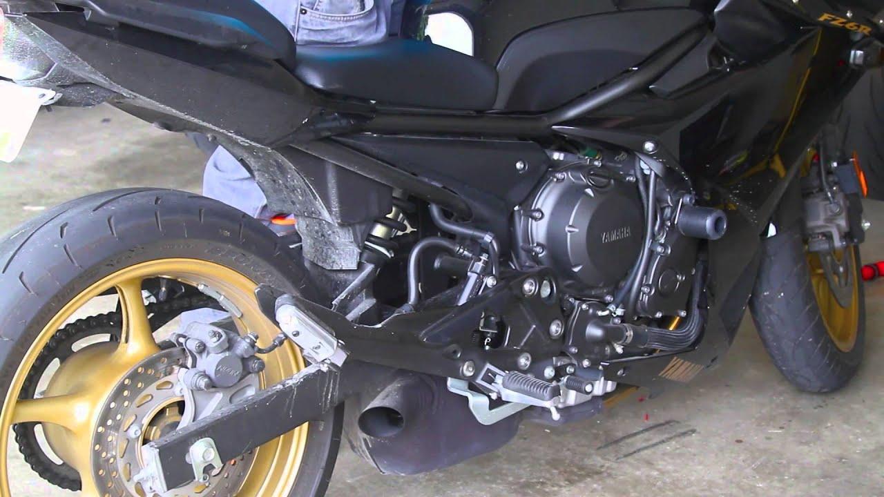 2010 Yamaha FZ6R custom exhaust sound - YouTube